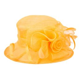 8 Units of SINAMAY FASCINATOR WITH FLOWER TRIM IN ORANGE - Church Hats