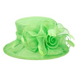 8 Units of SINAMAY FASCINATOR WITH FLOWER TRIM IN GREEN - Church Hats