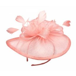 12 Units of SINAMAY FASCINATOR WITH FLOWER TRIM IN PINK - Church Hats