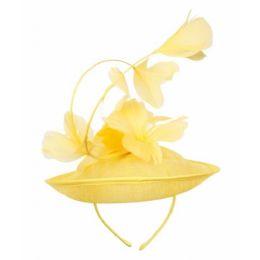 12 Units of SINAMAY FASCINATOR WITH FLOWER ON THE TOP IN YELLOW - Church Hats