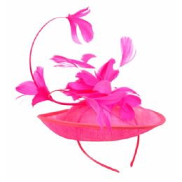 12 Units of SINAMAY FASCINATOR WITH FLOWER ON THE TOP IN HOT PINK - Church Hats
