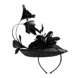 12 Units of SINAMAY FASCINATOR WITH FLOWER ON THE TOP IN BLACK - Church Hats