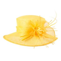 12 Units of SINAMAY FASCINATOR WITH BIG FLOWER TRIM IN YELLOW - Church Hats