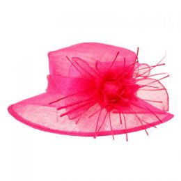 12 Units of SINAMAY FASCINATOR WITH BIG FLOWER TRIM IN HOT PINK - Church Hats