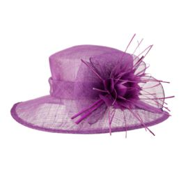 12 Units of SINAMAY FASCINATOR WITH BIG FLOWER TRIM IN LAVENDER - Church Hats