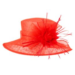 12 Units of SINAMAY FASCINATOR WITH BIG FLOWER TRIM IN RED - Church Hats