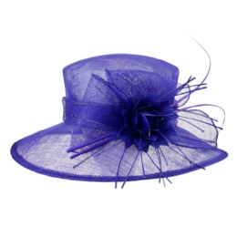 12 Units of SINAMAY FASCINATOR WITH BIG FLOWER TRIM IN ROYAL - Church Hats