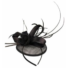 12 Units of SINAMAY FASCINATOR WITH RIBBON & FLOWER TRIM IN BLACK - Church Hats
