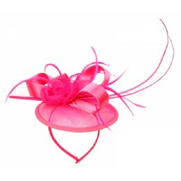 12 Units of SINAMAY FASCINATOR WITH RIBBON & FLOWER TRIM IN HOT PINK - Church Hats