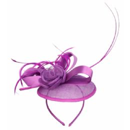 12 Units of SINAMAY FASCINATOR WITH RIBBON & FLOWER TRIM IN LAVENDER - Church Hats