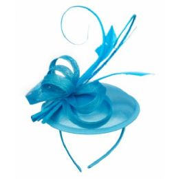 12 Units of SINAMAY FASCINATOR WITH RIBBON TRIM IN TORQUOISE - Church Hats