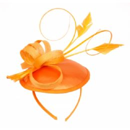 12 Units of SINAMAY FASCINATOR WITH RIBBON TRIM IN ORANGE - Church Hats