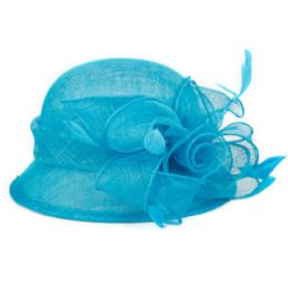 12 Units of Sinamay Fascinator With Big Flower Trim In Torquoise - Church Hats