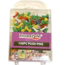 48 Units of 150pc Push Pins In Plastic Case - Push Pins and Tacks