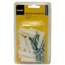 96 Units of 24 Piece 10mm Hook And Anchor - Hardware Products