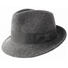 59a6caedfe3 6 Units of WOOL FELT FEDORA HATS WITH GROSGRAIN BAND IN GRAY - Fedoras