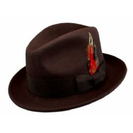 6 Units of Wool Felt Fedora Hats With Feather In Brown - Fedoras, Driver Caps & Visor