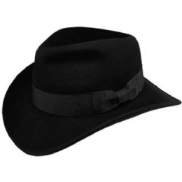 6 Units of Indiana Jones Wool Felt Fedora Hats With Grosgrain Band In Black - Fedoras, Driver Caps & Visor