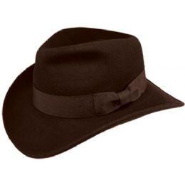 6 Units of Indiana Jones Wool Felt Fedora Hats With Grosgrain Band In Brown - Fedoras, Driver Caps & Visor