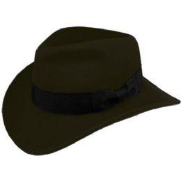 6 Units of Indiana Jones Wool Felt Fedora Hats With Grosgrain Band In Olive - Fedoras, Driver Caps & Visor