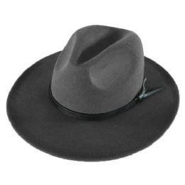 24 Units of Polyester Felt Fedora W/faux Leather - Fedoras, Driver Caps & Visor