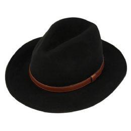 12 Units of Men's Wool Felt Fedora Hats With Leather Band - Fedoras, Driver Caps & Visor