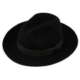 12 Units of Wool Felt Fedora Hats With Grosgrain Band In Black - Fedoras, Driver Caps & Visor