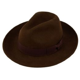 12 Units of Wool Felt Fedora Hats With Grosgrain Band In Brown - Fedoras, Driver Caps & Visor