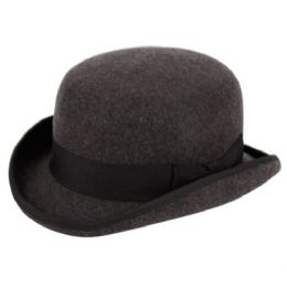 6 Units of Round Crown Bowler Felt Hats With Grosgrain Band In Charcoal - Fedoras, Driver Caps & Visor