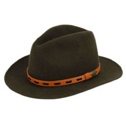 6 Units of Wool Felt Outback Fedora Hats With Leather Band In Olive - Fedoras, Driver Caps & Visor
