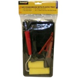 24 Units of 5pc Foam Brush W Plastic Tray - Paint and Supplies