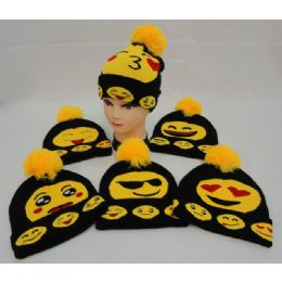 12 Units of Knitted Toboggan with PomPom [Emojis]--Larger Size - Winter Beanie Hats