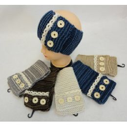 24 Units of Hand Knitted Ear Band [Antique Lace with 3 Buttons]**LOOP** - Ear Warmers