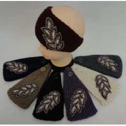 12 Units of Hand Knitted Ear Band [Jeweled Leaf] - Ear Warmers