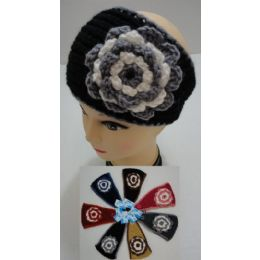 24 Units of Hand Knitted Ear Band [Two-Color Flower] - Ear Warmers