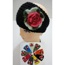 24 Units of Hand Knitted Ear Band w/ MultiColor Flower - Ear Warmers
