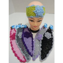 72 Units of Hand Knitted Ear Band w/ MultiColor Flower - Ear Warmers