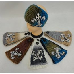 12 Units of Wide Ear Band [Color Fade/Rhinestone Fleur de Lis] - Ear Warmers