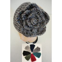 12 Units of Wider Hand Knitted Ear Band w/ Flower [Metallic Accent] - Ear Warmers
