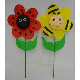 "60 Units of 12.5"" Ladybug/Bumblebee Flower Petal Wind Spinner with Leaves - Garden Decor"