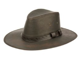 12 Units of Vintage Faux Leather Safari Hats With Band - Fedoras, Driver Caps & Visor