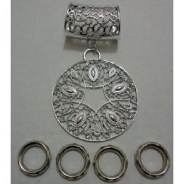 96 Units of Scarf Charm: Filigree Circle - Necklace