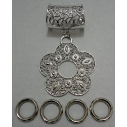 96 Units of Scarf Charm: Filigree Daisy - Necklace