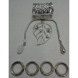 96 Units of Scarf Charm: Filigree Leaf With Rhinestones - Necklace
