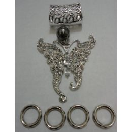 96 Units of Scarf Charm: Rhinestone Butterfly - Necklace