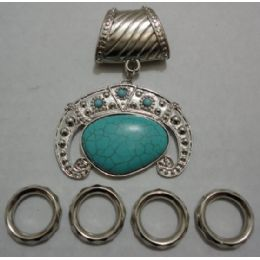 96 Units of Scarf Charm: Turquoise Stone - Necklace