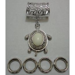 96 Units of Scarf Charm: White Stone Turtle - Necklace