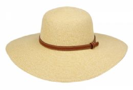 12 Units of Braid Straw Floppy Hats With Leather Band - Sun Hats
