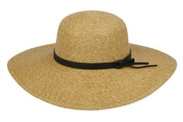 12 Units of Straw Floppy Hats With Leather Band - Sun Hats