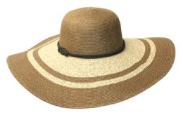 12 Units of Wide Brim Straw Braid Floppy Hats - Sun Hats